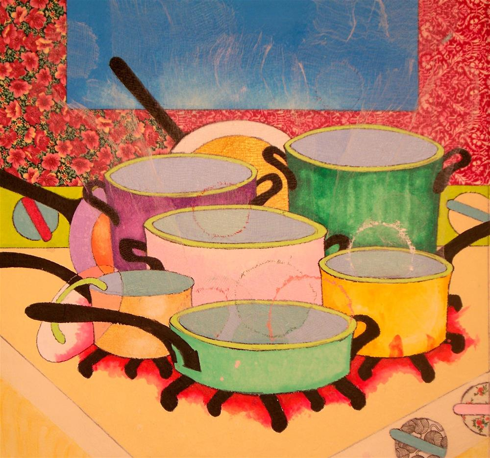 """""""New Cookware in Use"""" original fine art by Lisa Fulton"""