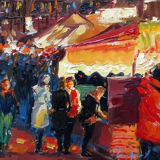 """""""Auf dem Weihnachtsmarkt"""" original fine art by Jurij Frey"""