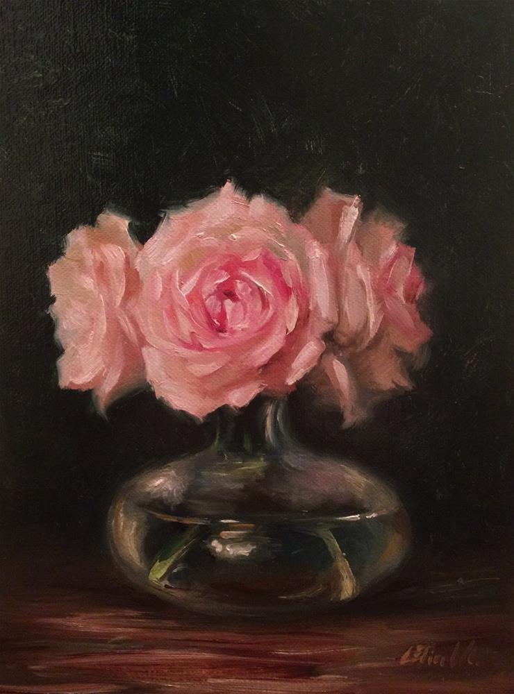 """""""Pale Pink Roses in Glass Vase"""" original fine art by Carolina Elizabeth"""