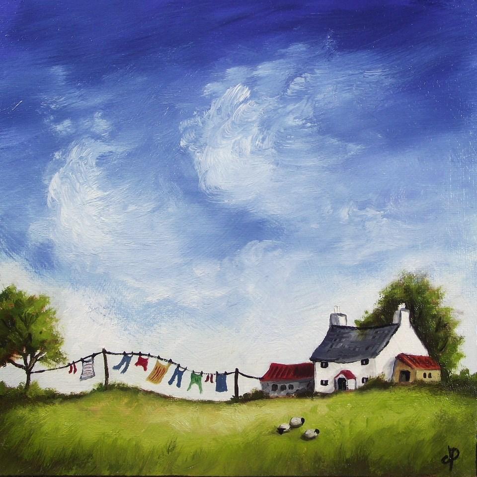 """Washing Day"" original fine art by Jane Palmer"