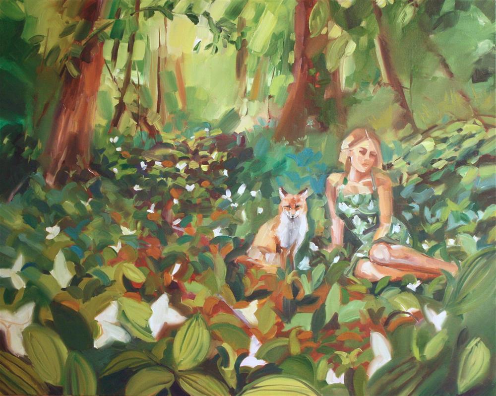 """Fox and I"" original fine art by Jessie Dodington"