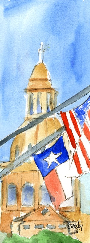 """""""The Flags and Seasonal Bloom 3"""" original fine art by Donna Crosby"""