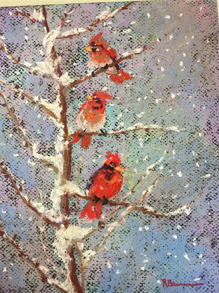 """Winter Snow Birds"" original fine art by Rose Brenner"