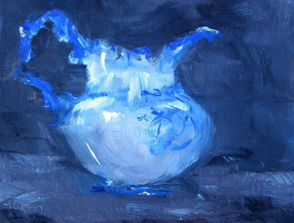"""Blue Pitcher Study"" original fine art by kay  keyes farrar"
