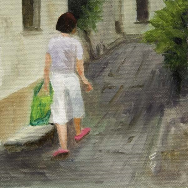 """Shopping Trip"" original fine art by Jane Frederick"