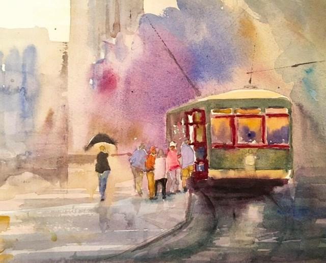 """St Charles - Streetcar"" original fine art by Katharine Engh"