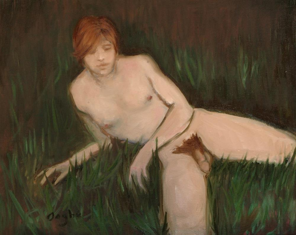 """Nude Male in Grass"" original fine art by Angela Ooghe"