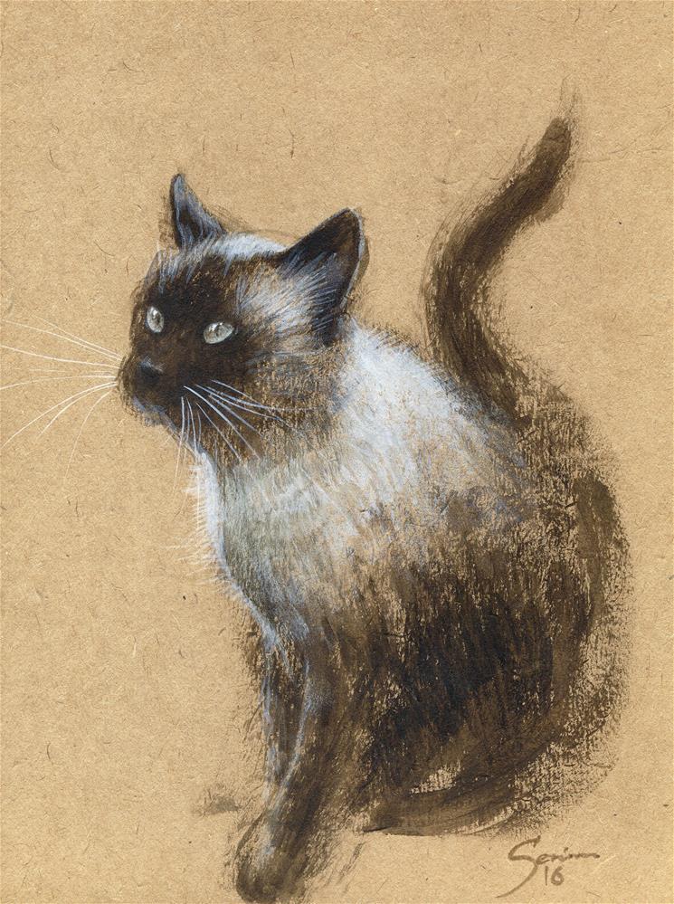 """Siamese cat"" original fine art by Elena Senina"