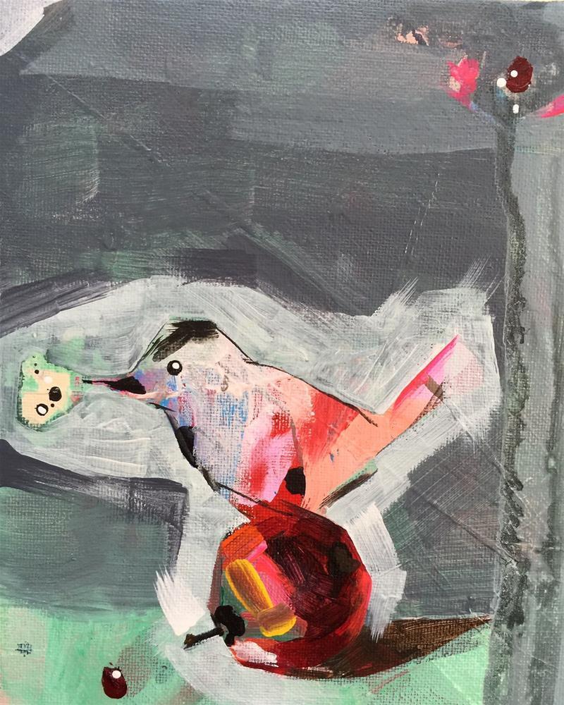 """40 Apple Bird"" original fine art by Jenny Doh"