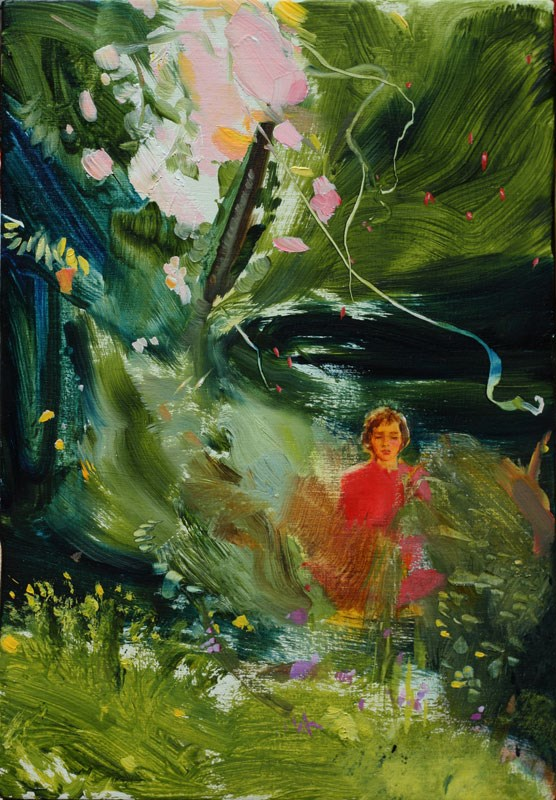 """Under rhododendrons"" original fine art by Eszter Szicso"