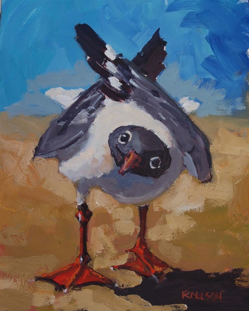 """Gull listen (SOLD)"" original fine art by Rick Nilson"