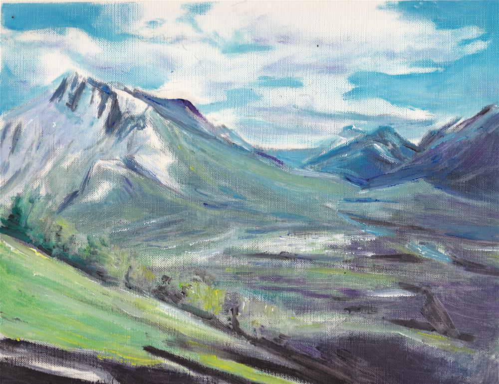 """""""The Mountain - Oil on canvas sheet -No frame"""" original fine art by Ramon DelRosario"""