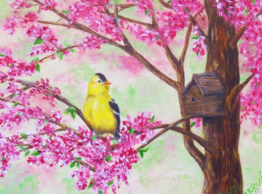"""Spring Goldfinch"" original fine art by Sandra Cameron"