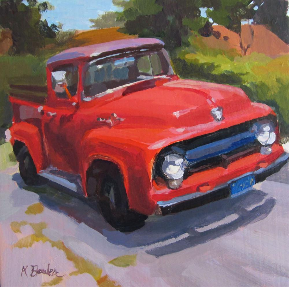 """red truck"" original fine art by Kaethe Bealer"