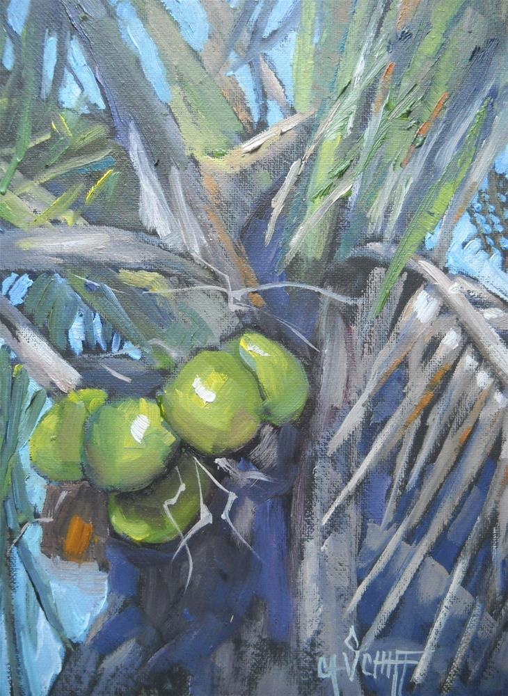 """Tropical Landscape Painting, Going Coconuts II by Carol Schiff, 6x8 oil SOLD and Christmas Discou"" original fine art by Carol Schiff"
