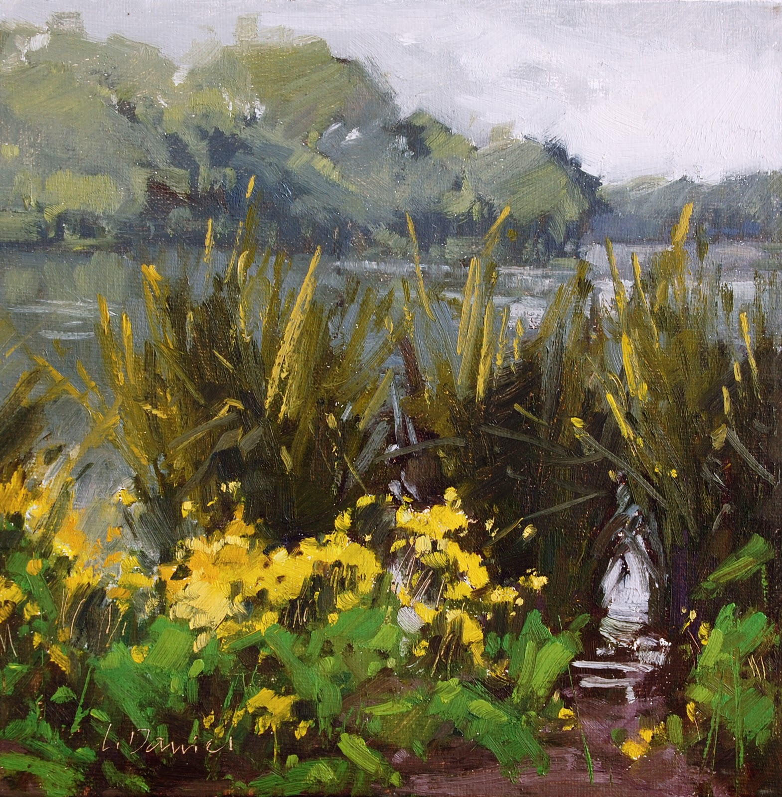"""Reeds in the Lagoon - Plein Air Demo"" original fine art by Laurel Daniel"