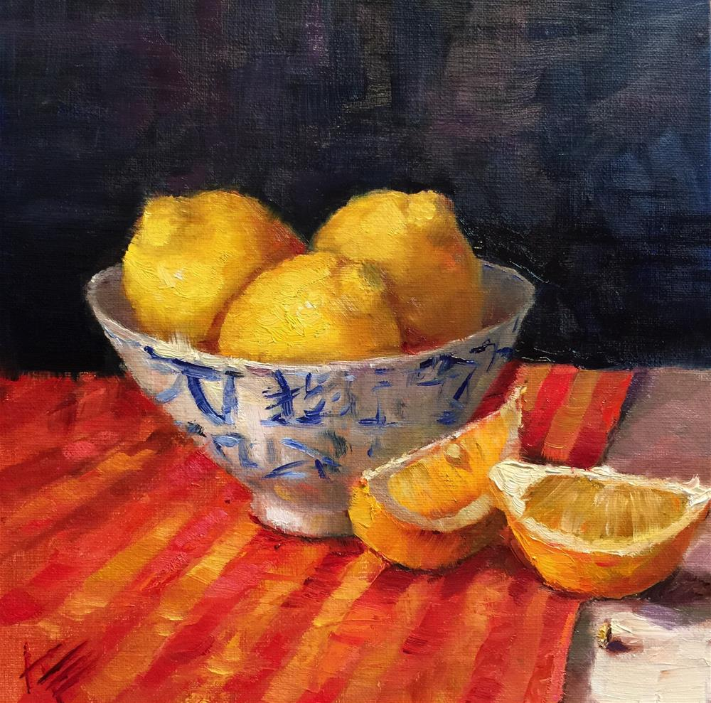 """Lemons in Blue & White bowl"" original fine art by Krista Eaton"