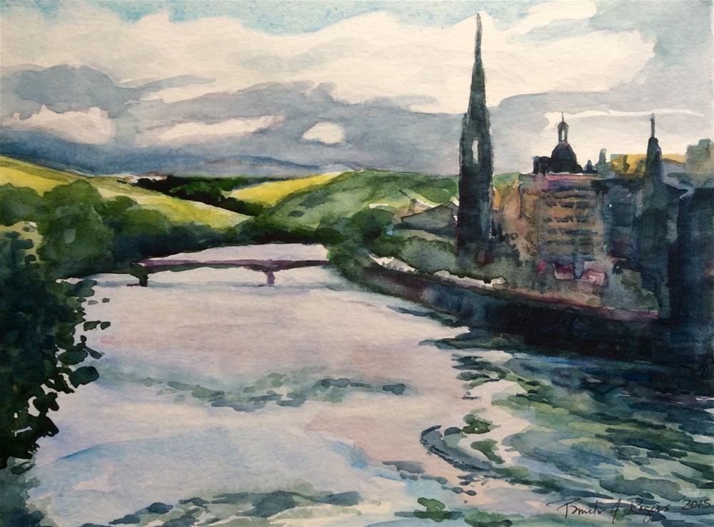 """Perth, River Tay Scotland"" original fine art by Pamela Jane Rogers"