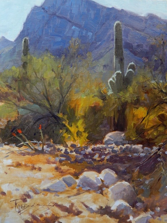 """Tucson Territory Arizona landscape painting by Robin Weiss"" original fine art by Robin Weiss"