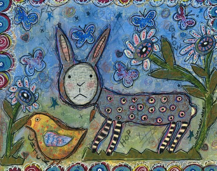 """Rabbit With Chick"" original fine art by Sonja Sandell"