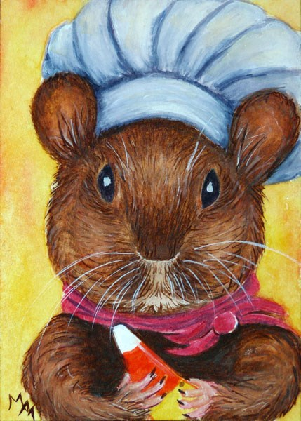 """Candy Corn Chef"" original fine art by Monique Morin Matson"