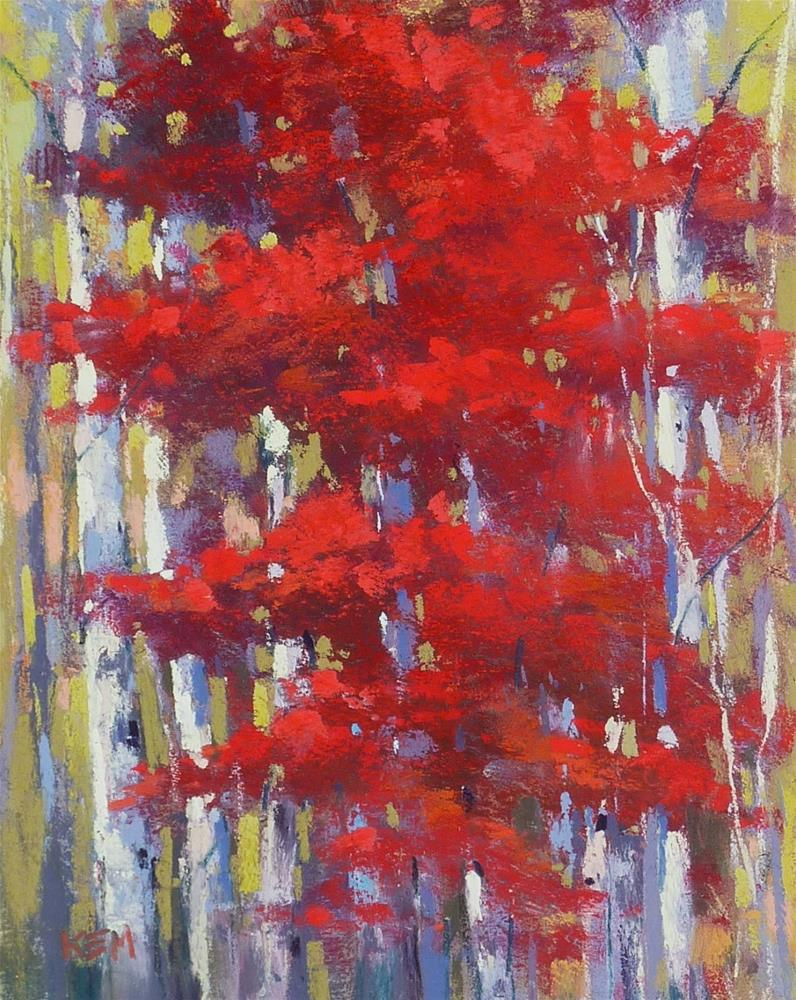 """Simplify Autumn Trees with Clear Gesso"" original fine art by Karen Margulis"