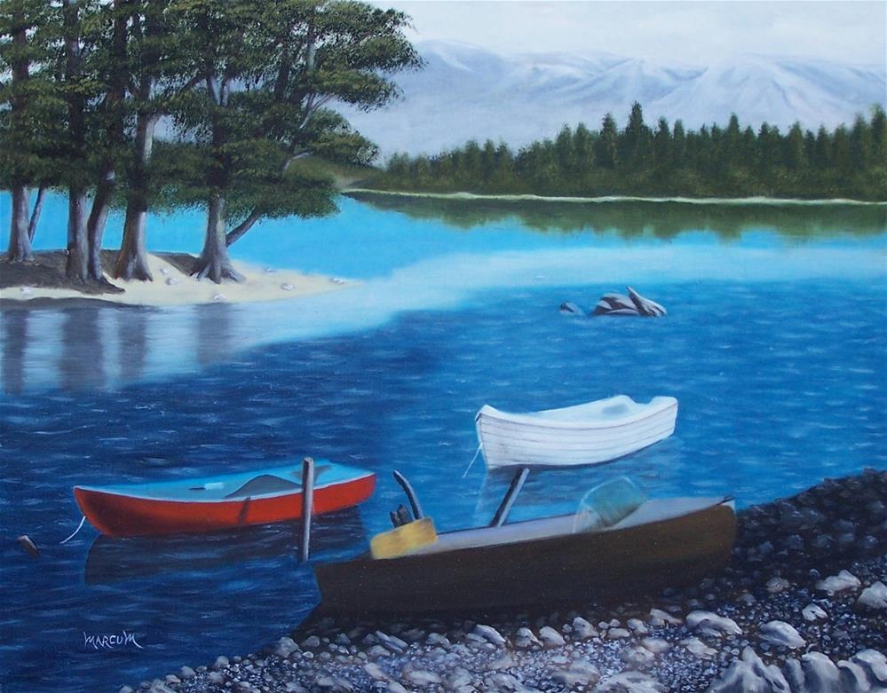 """Boats on a Lake"" original fine art by John Marcum"