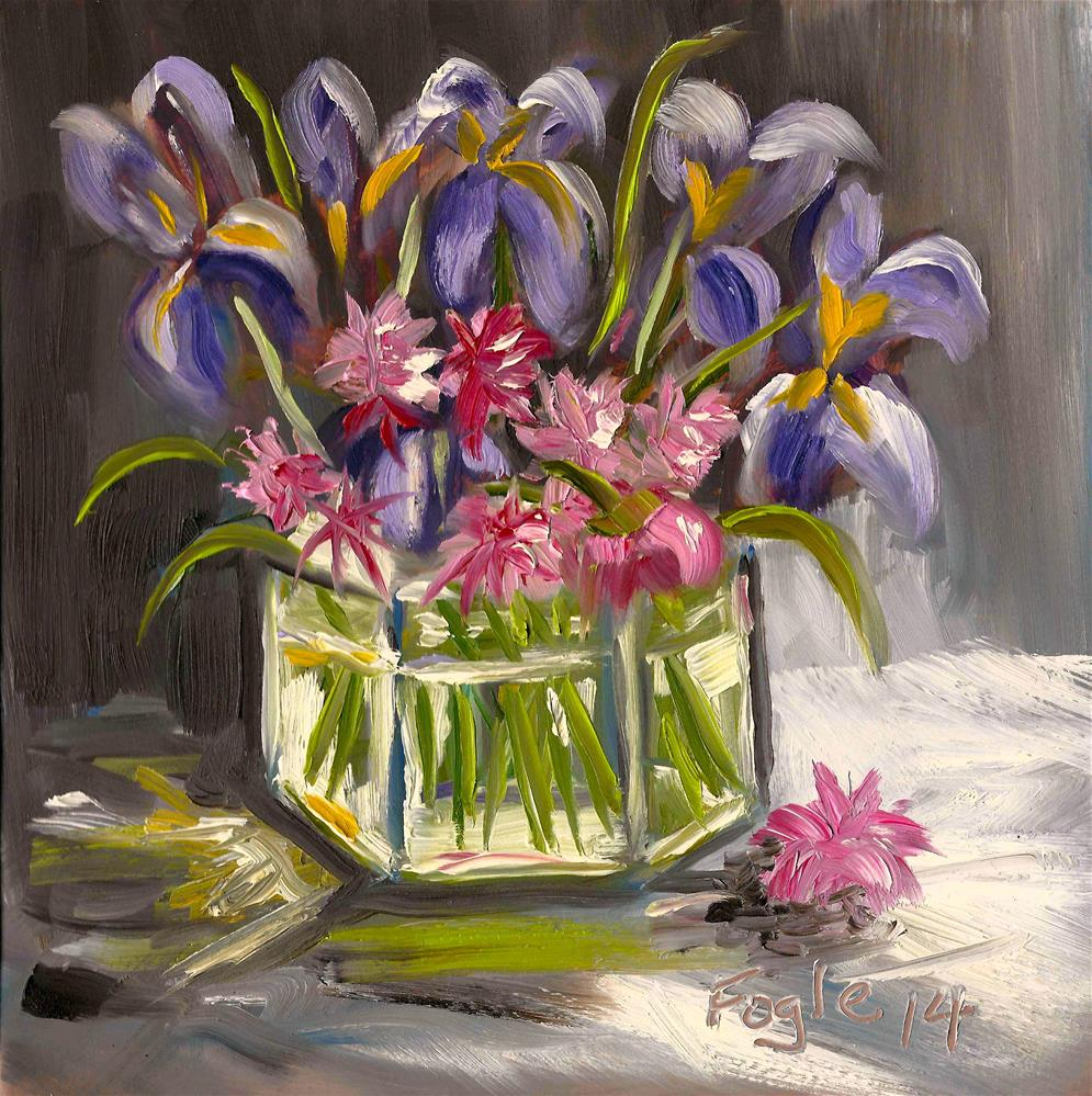 """Irises and Chives"" original fine art by Rachel Fogle"