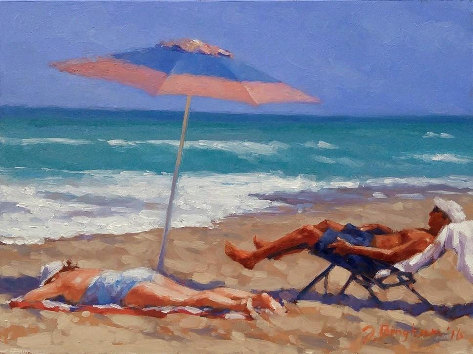 """Beach Couple Series-1"" original fine art by Joanna Bingham"