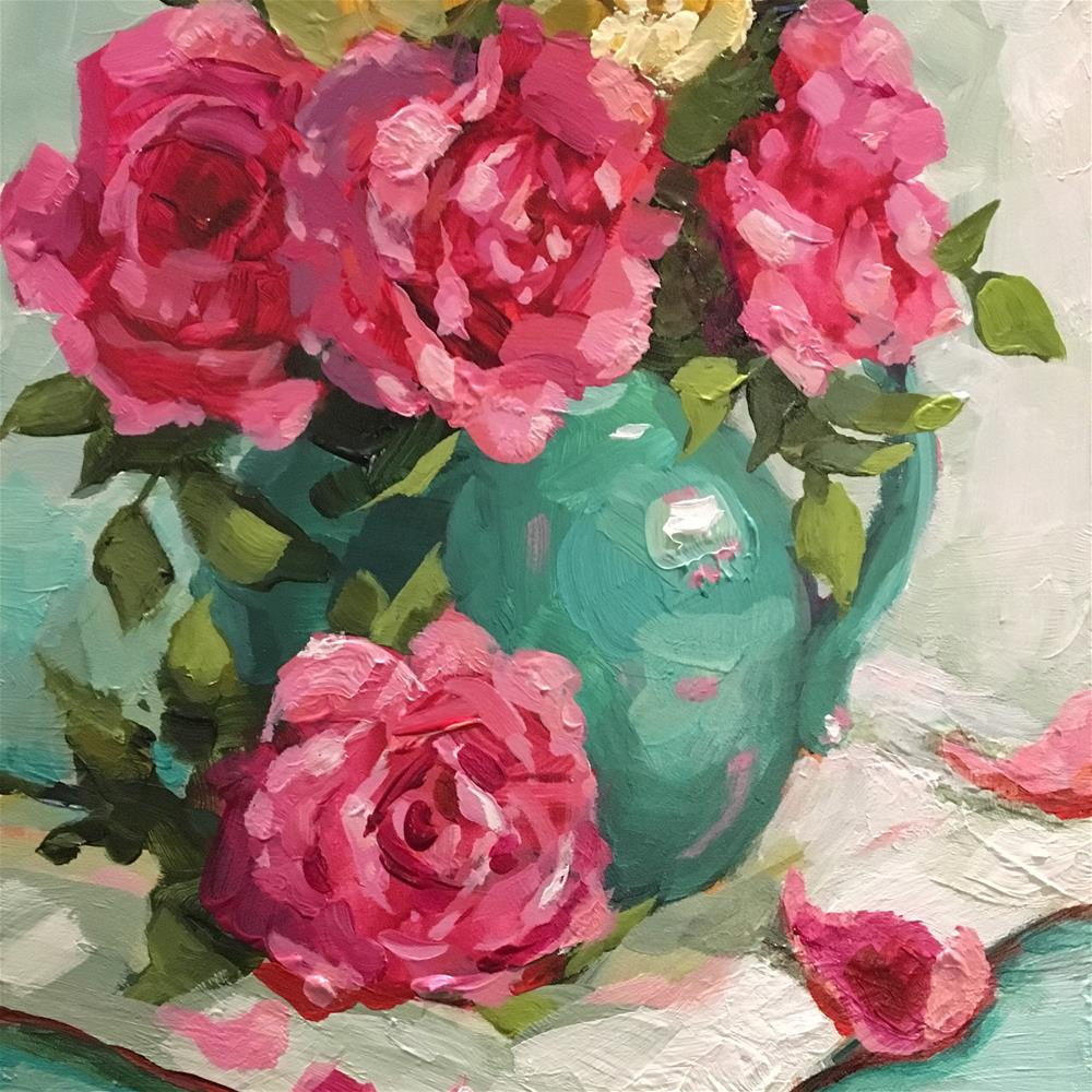 """Roses in Turquiose jar"" original fine art by Krista Eaton"