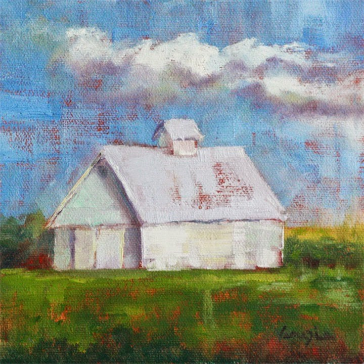 """landscape with White Barn"" original fine art by Carrie Venezia"