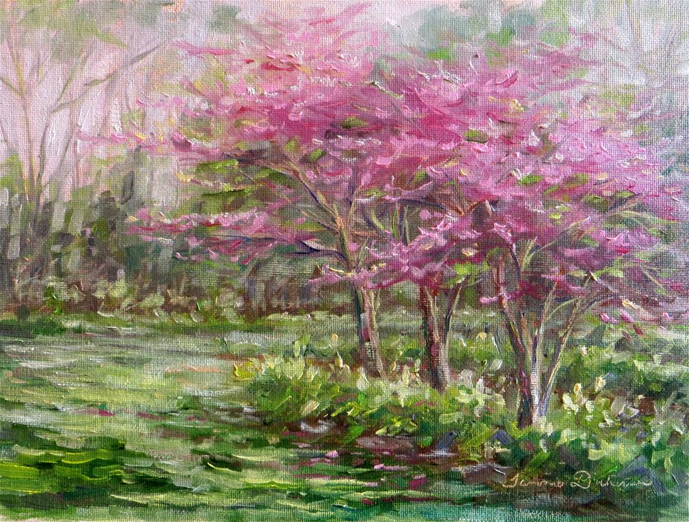 """Red Buds in the Peony Garden"" original fine art by Tammie Dickerson"