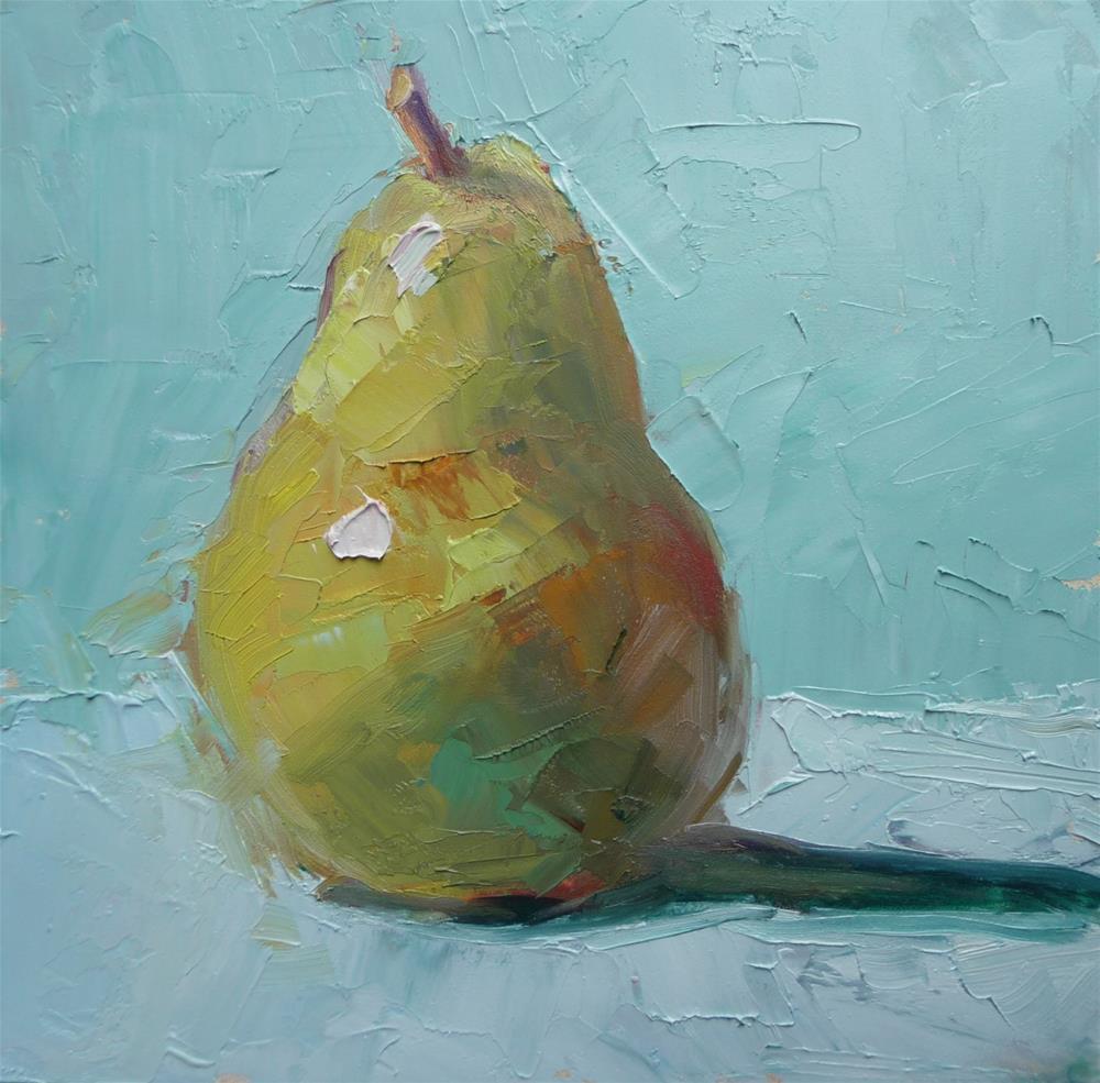 """Pear on Blue"" original fine art by Carol Josefiak"