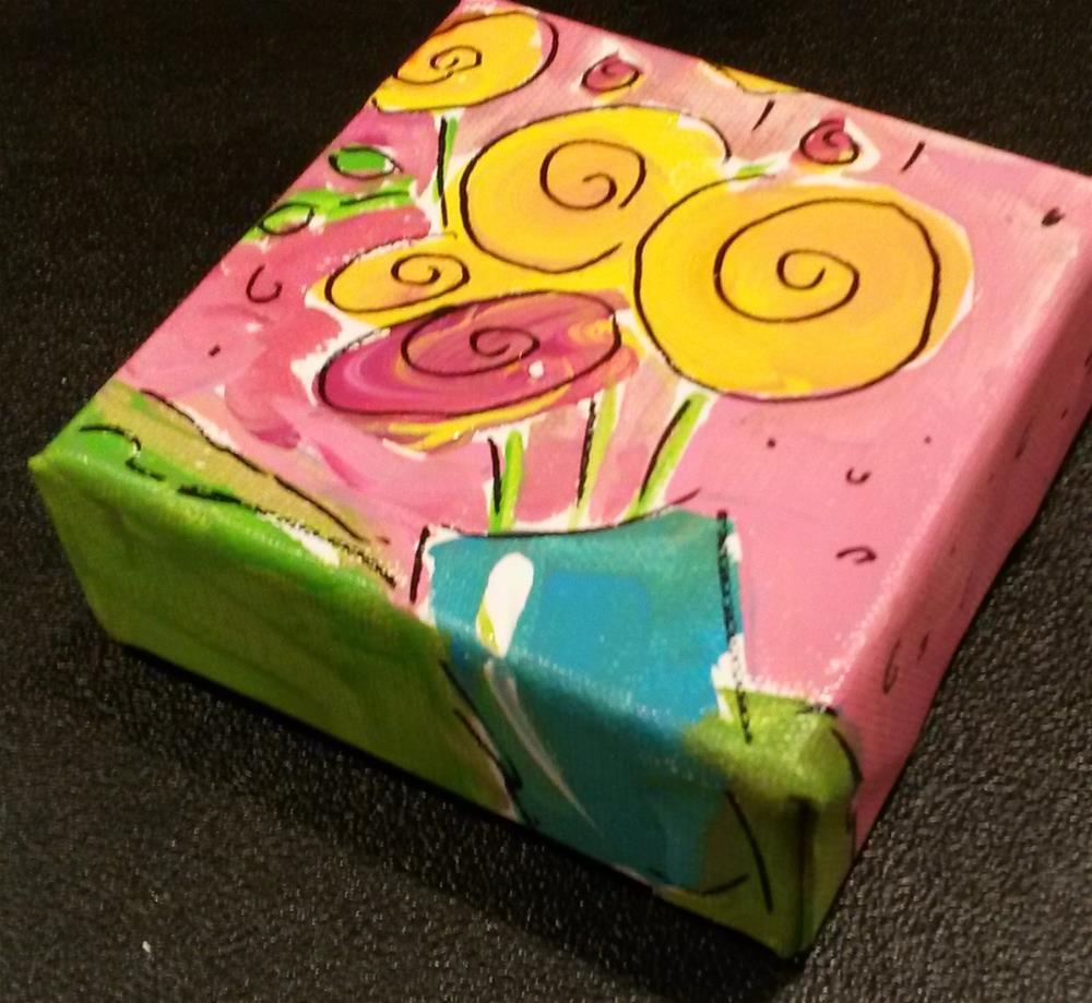 """""""Chunky Flower Vase Pink"""" original fine art by Terri Einer"""