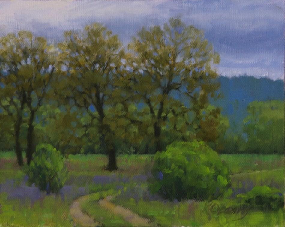 """Valley Oaks & Lupine"" original fine art by Kathy O'Leary"