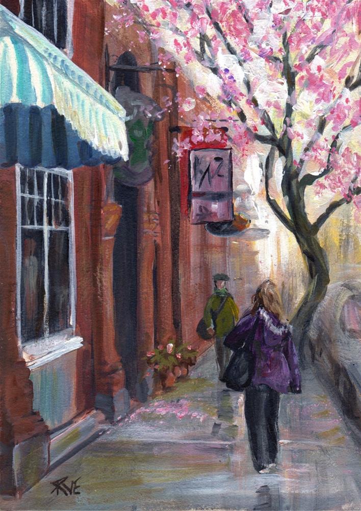 """Wharf Street shoppers"" original fine art by Ruth Van Egmond"