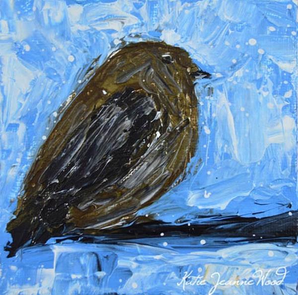 """Black robin bird No 44"" original fine art by Katie Jeanne Wood"