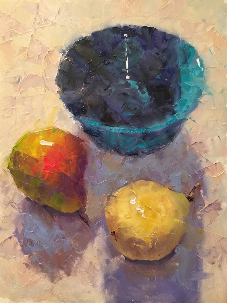 """Blue Bowl With Pears, 9x12"" original fine art by Ann Feldman"
