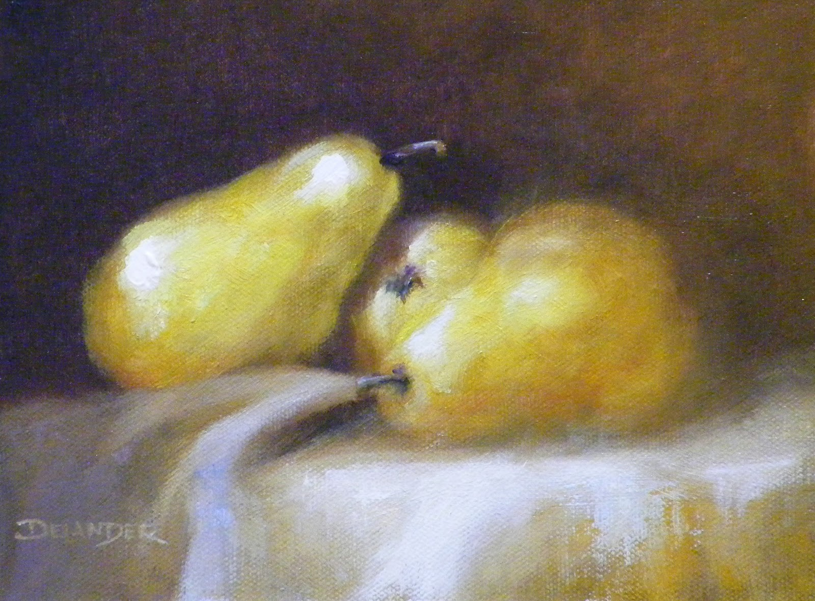 """3 Pears, Still Life, Oil"" original fine art by Diana Delander"