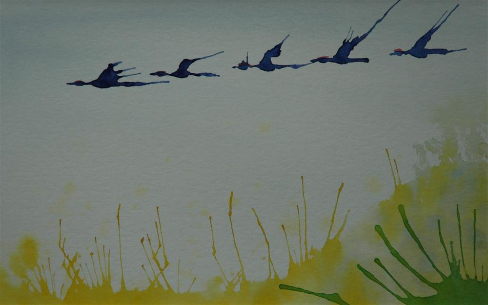 """Blue cranes above yellow field"" original fine art by Ulrike Schmidt"