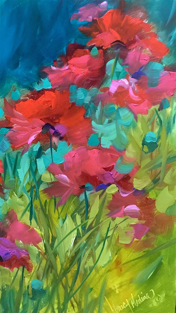 """Poppy Chorus"" original fine art by Nancy Medina"