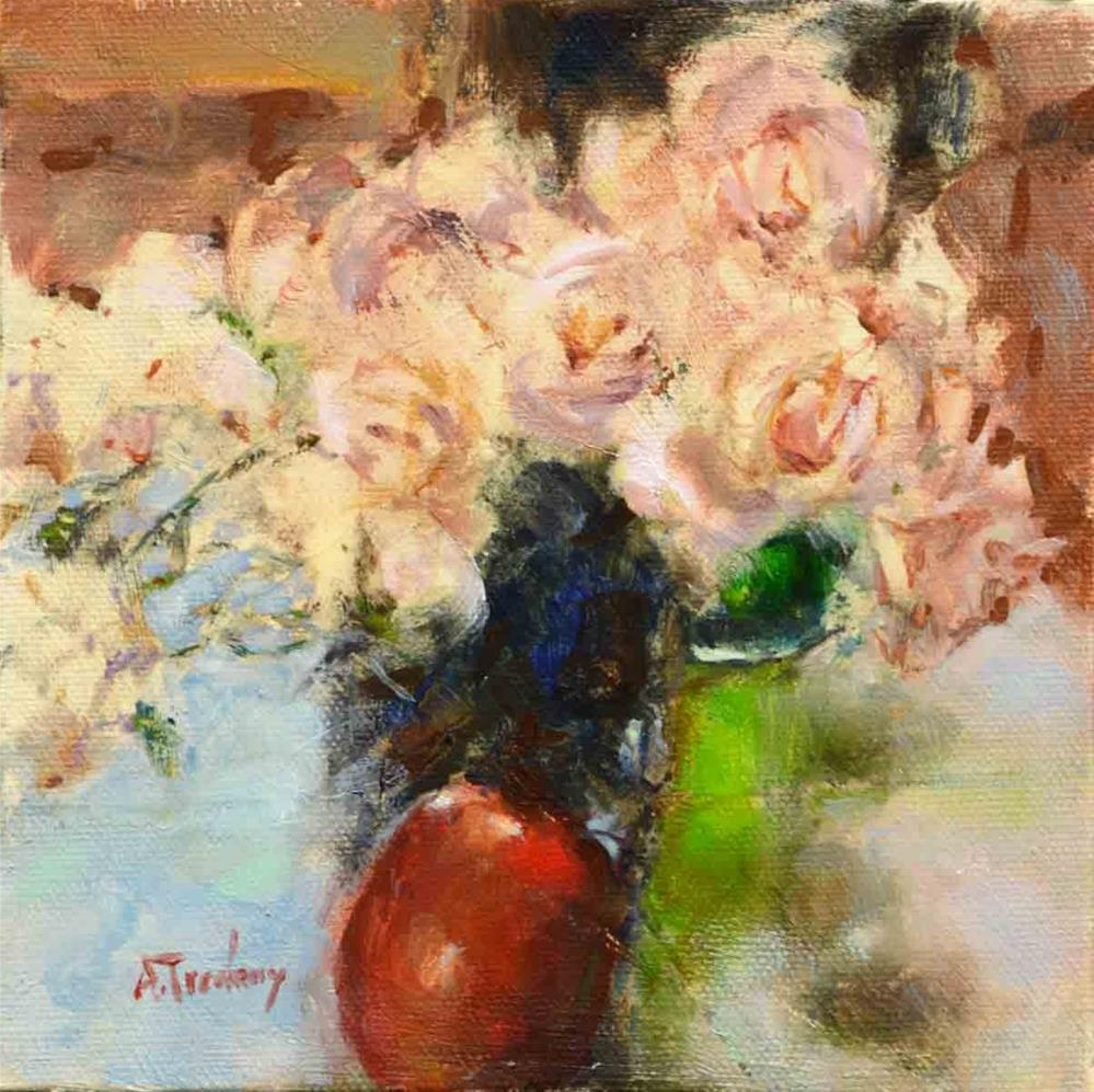 """Pink Roses with Red Apple"" original fine art by alicia tredway"