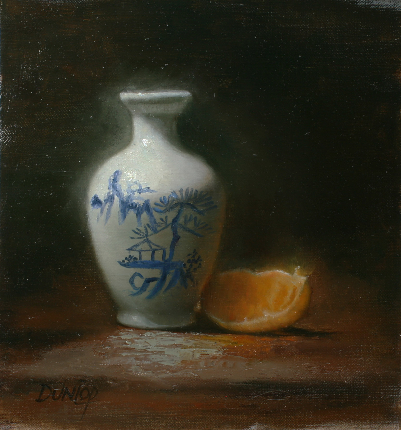 """Chinese Vase with Orange"" original fine art by Bobbi Dunlop"