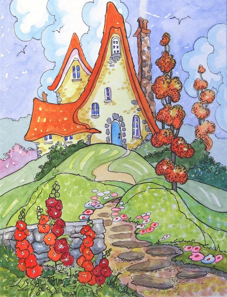 """The Happy House Storybook Cottage Series"" original fine art by Alida Akers"