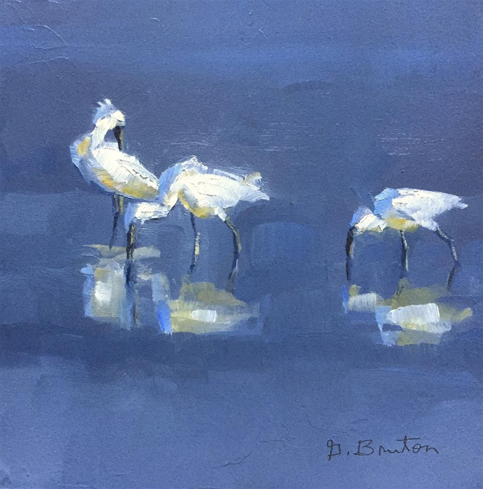 """Spoonbills"" original fine art by Gary Bruton"
