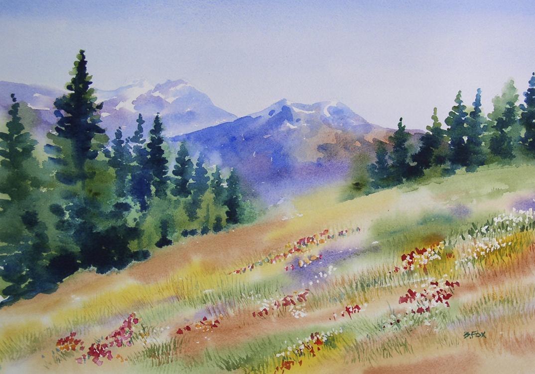 """HIGH SIERRA MEADOW watercolor landscape painting"" original fine art by Barbara Fox"