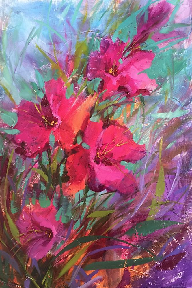 """""""Glad Rising and Monthly Classes Are Here!"""" original fine art by Nancy Medina"""