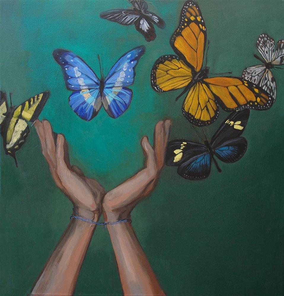 """""""Butterflies"""" original fine art by Miriam Hill"""