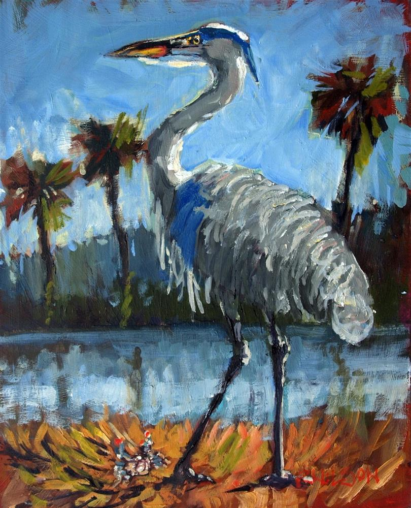 """Heron and the Crab"" original fine art by Rick Nilson"