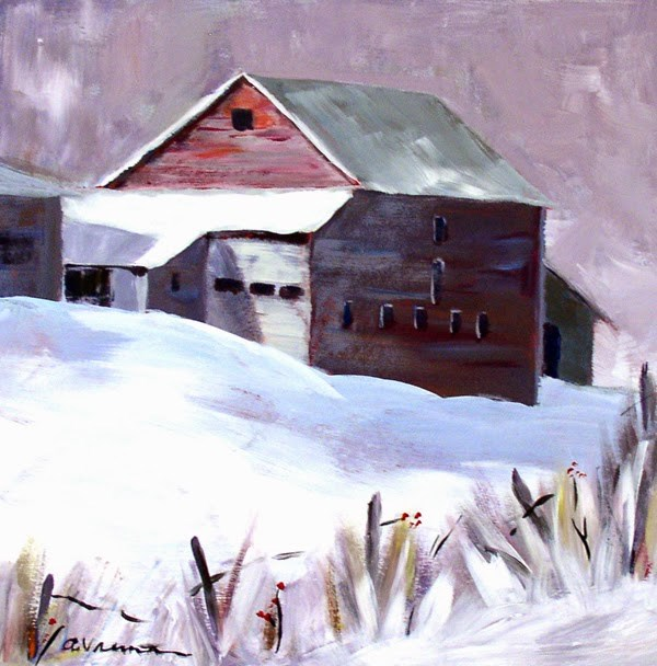"""Barn #8 - Winter Sun"" original fine art by Anna Vreman"